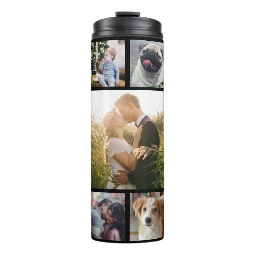 Family Photo Collage 11 Custom Pictures  Black Thermal Tumbler