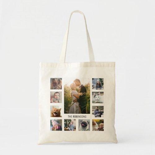 Family Photo Collage 11 Instagram Pics  Name Tote Bag