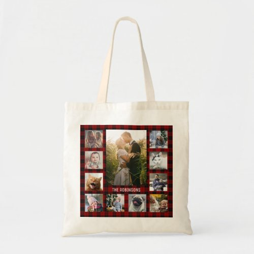 Family Photo Collage 11 Instagram Pics  Red Plaid Tote Bag
