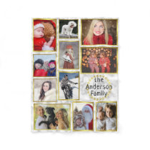 Family Photo Collage 11 Pictures Marble Gold Easy Fleece Blanket