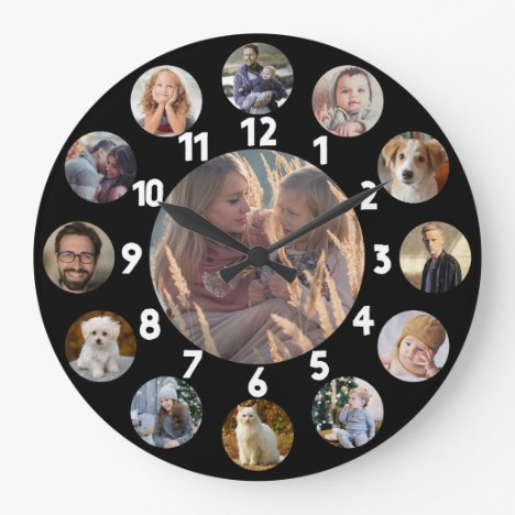 Family Photo Collage 13 Instagram Pictures | Black Large Clock