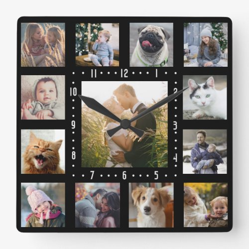 Family Photo Collage 13 Instagram Pictures  Black Square Wall Clock
