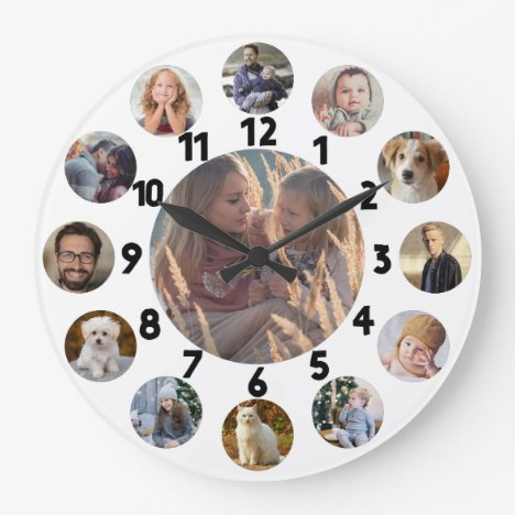 Family Photo Collage 13 Instagram Pictures   White Large Clock