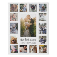 Family Photo Collage 15 Pictures   Name Gray White Faux Canvas Print