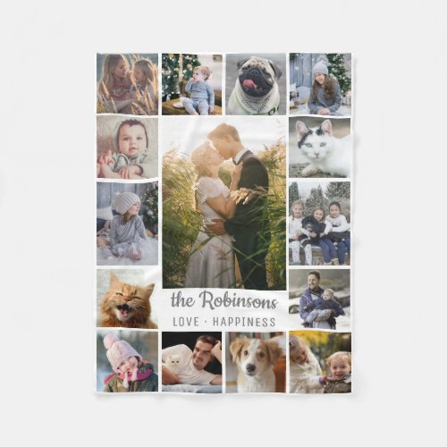 Family Photo Collage 15 Pictures  Name Gray White Fleece Blanket