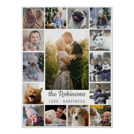Family Photo Collage 15 Pictures + Name Gray White Poster