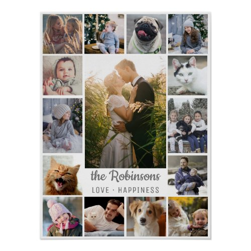 Family Photo Collage 15 Pictures  Name Gray White Poster