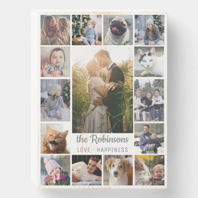 Family Photo Collage 15 Pictures + Name Gray White Wooden Box Sign