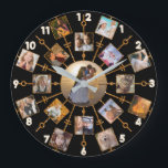 """Family Photo Collage 17 Pictures Pretty Black Gold Large Clock<br><div class=""""desc"""">This beautiful round wall clock has room for 17 of your square, Instagram - style photos. It has a unique circular design in black with faux (printed) gold glitter frames. 16 of your own photographs circle around one larger photo in the center. It&#39;s perfect for displaying family pictures or memories...</div>"""