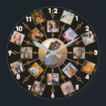 "Family Photo Collage 17 Pictures Pretty Black Gold Large Clock<br><div class=""desc"">This beautiful round wall clock has room for 17 of your square, Instagram - style photos. It has a unique circular design in black with faux (printed) gold glitter frames. 16 of your own photographs circle around one larger photo in the center. It&#39;s perfect for displaying family pictures or memories...</div>"