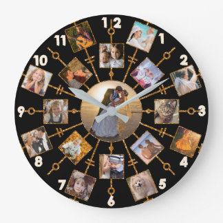 Family Photo Collage 17 Pictures Pretty Black Gold Large Clock
