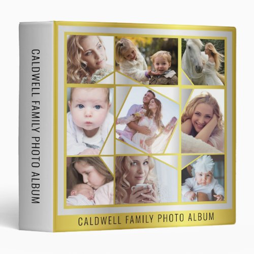 Family Photo Collage 18 Instagram Pic Gold Silver 3 Ring Binder