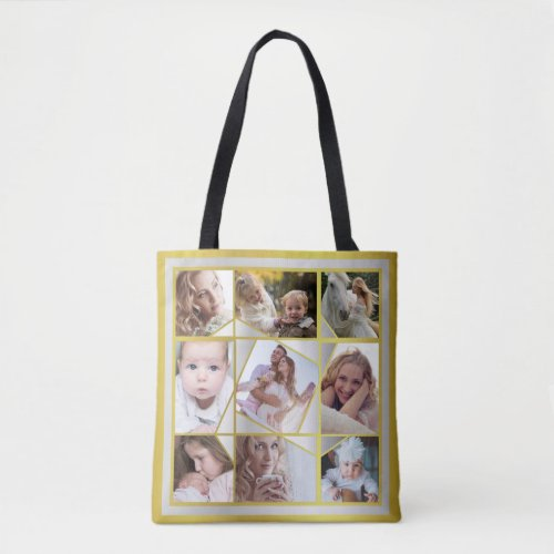 Family Photo Collage 18 Instagram Pic Gold Silver Tote Bag