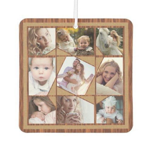 Family Photo Collage 18 Instagram Pics Wood Burlap Air Freshener