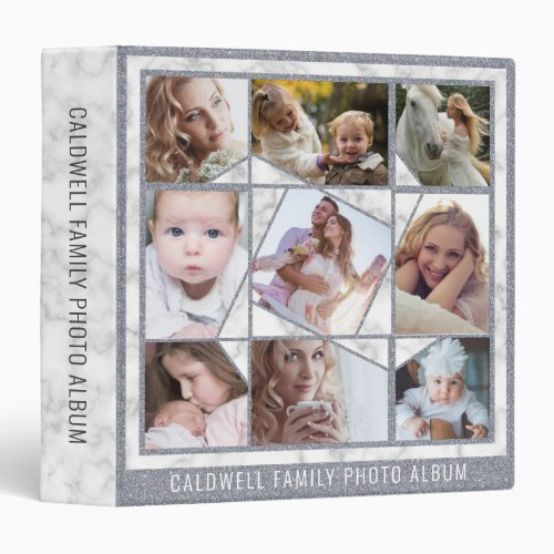 Family Photo Collage 18 Instagram Pictures Marble 3 Ring Binder