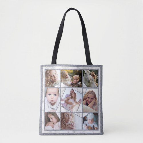 Family Photo Collage 18 Instagram Pictures Marble Tote Bag