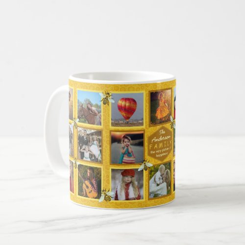 Family Photo Collage 20 Pictures  Name Honeybees Coffee Mug
