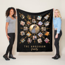 Family Photo Collage 21 Pictures Black Gold   Name Fleece Blanket