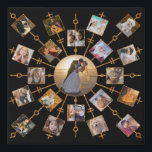 "Family Photo Collage 21 Pictures Pretty Black Gold Faux Canvas Print<br><div class=""desc"">This beautiful faux wall canvas has room for 21 of your square, Instagram - style photos. It has a unique circular design in black with faux (printed) gold glitter frames. 20 of your own photographs circle around one larger photo in the center. It&#39;s perfect for displaying family pictures or memories...</div>"