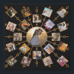 """Family Photo Collage 21 Pictures Pretty Black Gold Faux Canvas Print<br><div class=""""desc"""">This beautiful faux wall canvas has room for 21 of your square, Instagram - style photos. It has a unique circular design in black with faux (printed) gold glitter frames. 20 of your own photographs circle around one larger photo in the center. It&#39;s perfect for displaying family pictures or memories...</div>"""