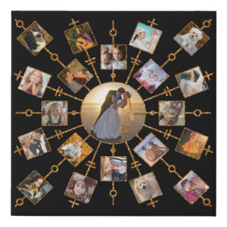 Family Photo Collage 21 Pictures Pretty Black Gold Faux Canvas Print