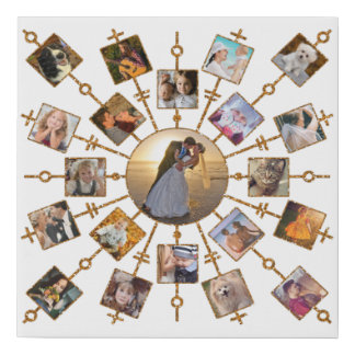 Family Photo Collage 21 Pictures Pretty White Gold Faux Canvas Print