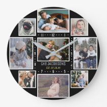 Family Photo Collage 9 Custom Pics Add Name Black Large Clock