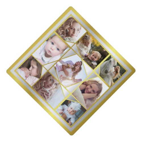 Family Photo Collage 9 Instagram Pic Gold Silver Graduation Cap Topper