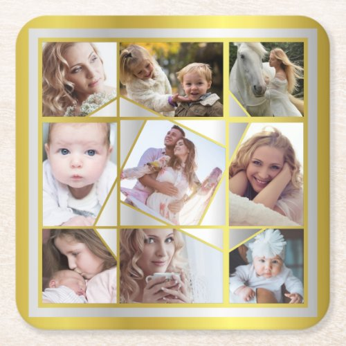 Family Photo Collage 9 Instagram Pic Gold Silver Square Paper Coaster