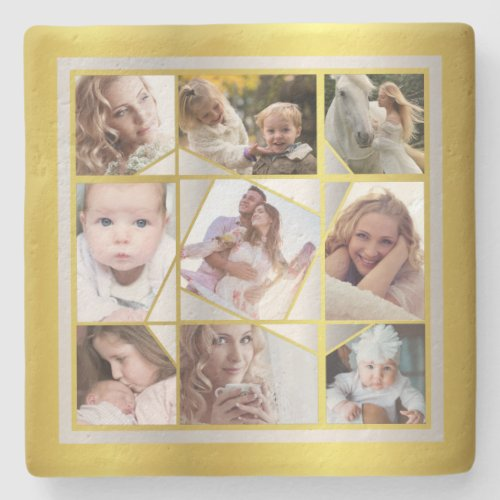 Family Photo Collage 9 Instagram Pic Gold Silver Stone Coaster