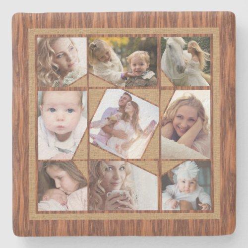 Family Photo Collage 9 Instagram Pics Wood Burlap Stone Coaster