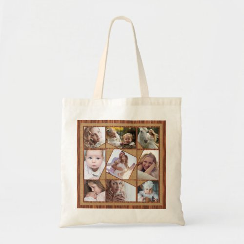Family Photo Collage 9 Instagram Pics Wood Burlap Tote Bag