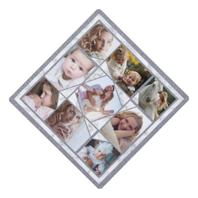 Family Photo Collage 9 Instagram Pictures | Marble Graduation Cap Topper