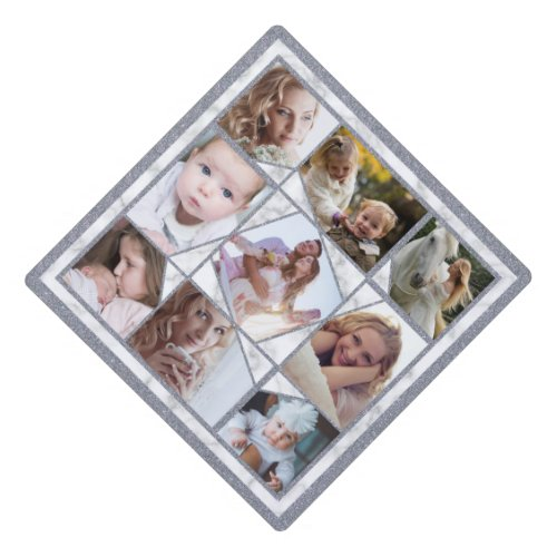 Family Photo Collage 9 Instagram Pictures  Marble Graduation Cap Topper