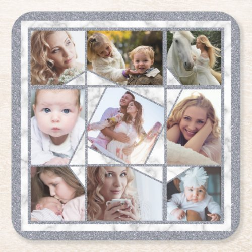Family Photo Collage 9 Instagram Pictures  Marble Square Paper Coaster