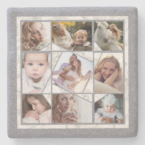 Family Photo Collage 9 Instagram Pictures  Marble Stone Coaster