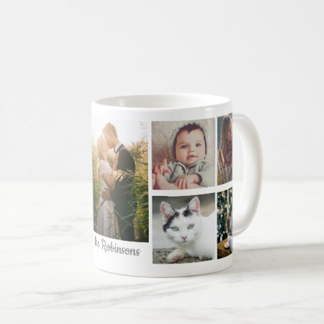 Family Photo Collage 9 Pictures Monogram Easy DIY Coffee Mug