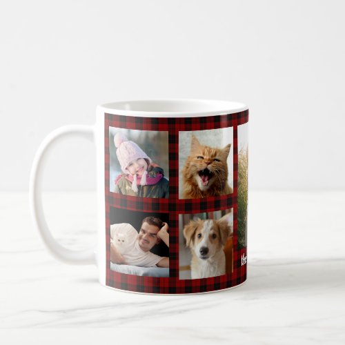Family Photo Collage 9 Pictures Red Plaid Easy DIY Coffee Mug