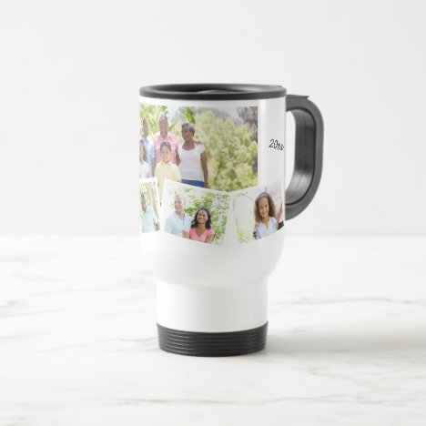 Family Photo Collage - Add 5 Photos & Custom Text Travel Mug