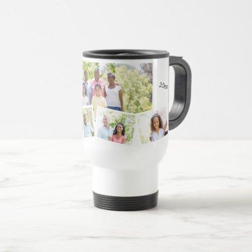 Family Photo Collage - Add 5 Photos & Custom Text Travel Mug
