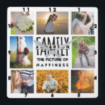 "Family Photo Collage Add Name Template | 8 Picture Square Wall Clock<br><div class=""desc"">This elegant, modern family photo collage square clock is completely customizable. Add a total of 8 photos using the provided templates. The design space is set up to include 4 square Instagram-style photos in the corners, along with 2 horizontal / landscape photos and 2 vertical / portrait photos. The word...</div>"