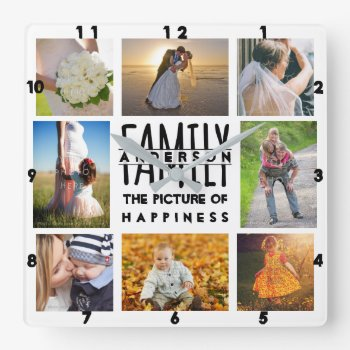 Family Photo Collage Add Name Template | 8 Picture Square Wall Clock by PictureCollage at Zazzle