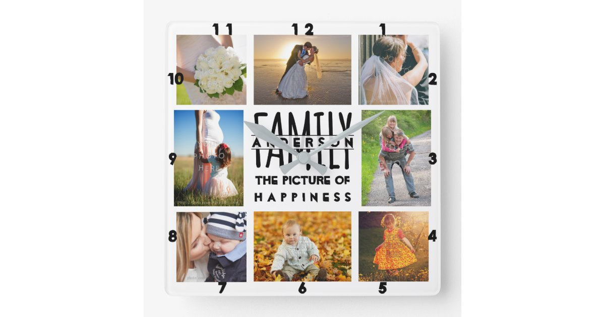 Family Photo Collage Add Name Template 8 Picture Square Wall Clock
