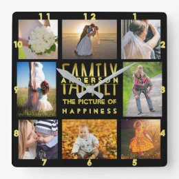 Family Photo Collage Add Name Template Gold Black Square Wall Clock