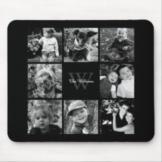 Family Photo Collage and Monogram Mouse Pad
