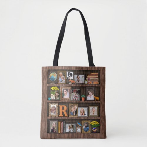 Family Photo Collage Antique Bookcase Personalized Tote Bag