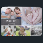 "Family photo collage chalkboard block iPad air cover<br><div class=""desc"">Protect your tablet case and choose your most beloved photos to cover this design. Easily customize the images,  family name.Enjoy filing the tablet case with photos from special moments with family,  children,  pets,  wedding,  engagement,  grandparents and more. The chalkboard adds a rustic look and feel.</div>"