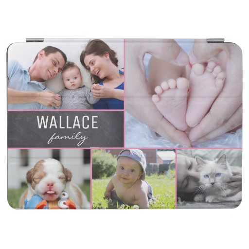 Family photo collage chalkboard block iPad air cover