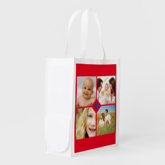 Family Photo Collage Customize Monogram Any Color Grocery Bag