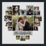 "Family Photo Collage Heart 17 Pictures Name White Poster<br><div class=""desc"">Display your family or wedding memories with this beautiful photo collage wall poster in white and gray with your pictures in the shape of a heart. This cute design includes room for 17 photographs: 9 horizontal, 2 vertical, and 6 Instagram-style square. Your photos will automatically adjust to make the heart...</div>"